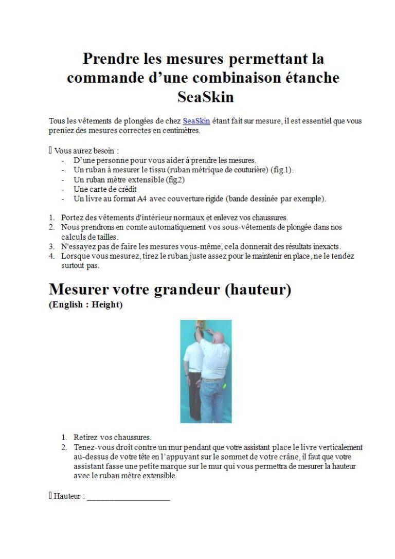 Page 1 - Prendre les mesures pour la combinaison étanche, les gants et la cagoule (en français)