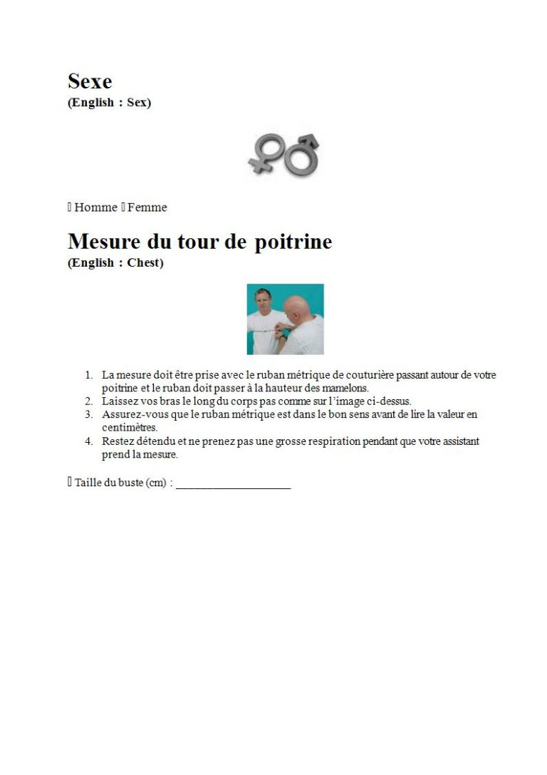 Page 2 - Prendre les mesures pour la combinaison étanche, les gants et la cagoule (en français)
