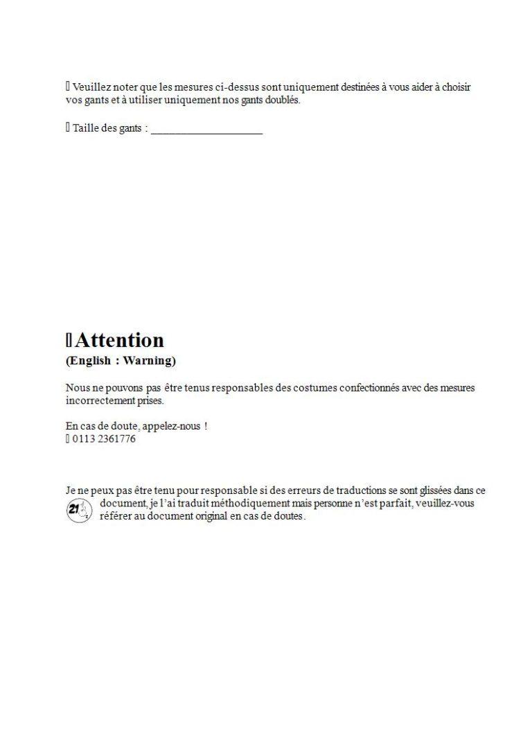 Page 12 - Prendre les mesures pour la combinaison étanche, les gants et la cagoule (en français)