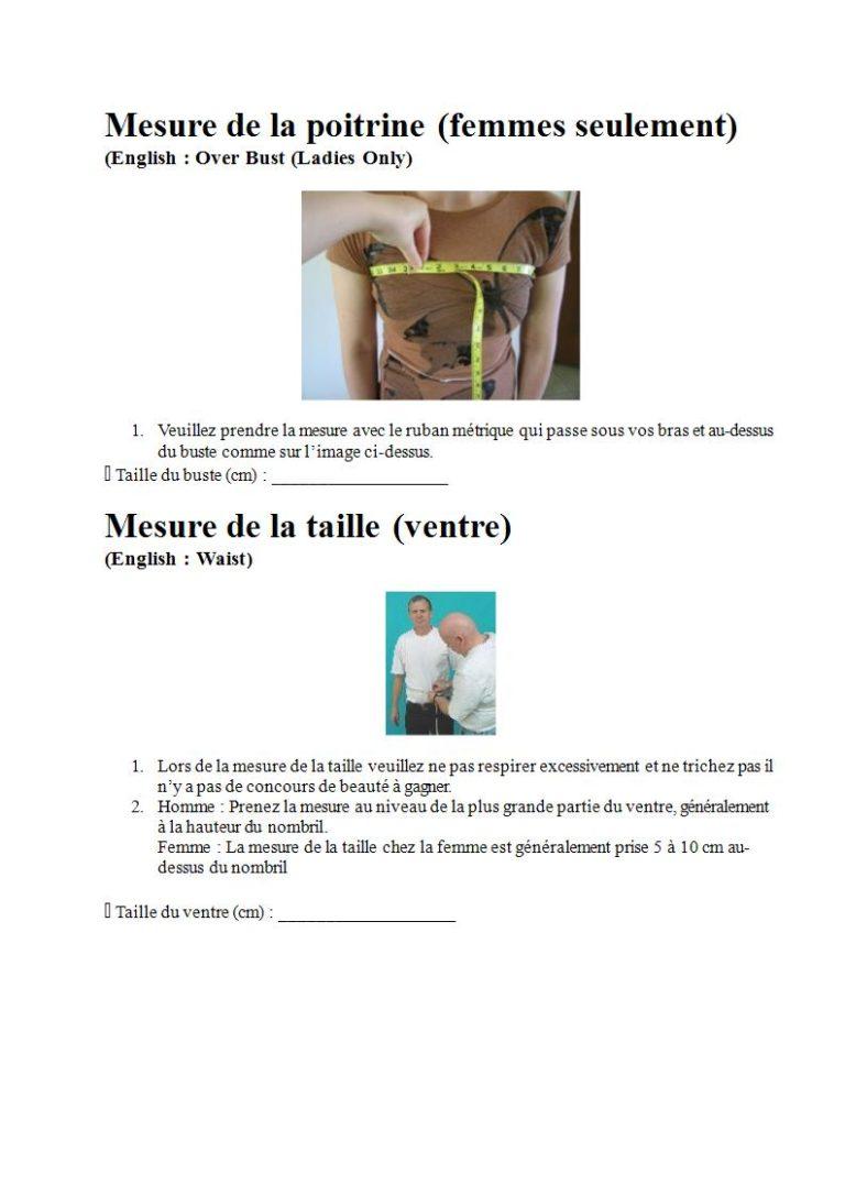 Page 3 - Prendre les mesures pour la combinaison étanche, les gants et la cagoule (en français)