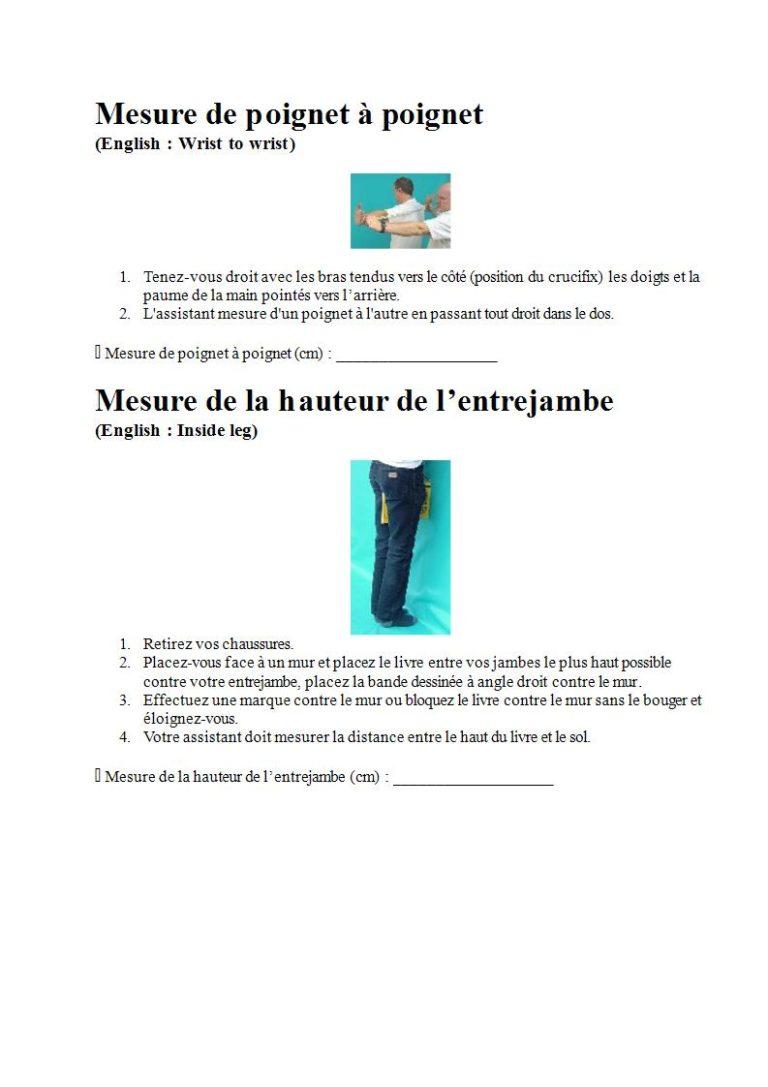 Page 5 - Prendre les mesures pour la combinaison étanche, les gants et la cagoule (en français)