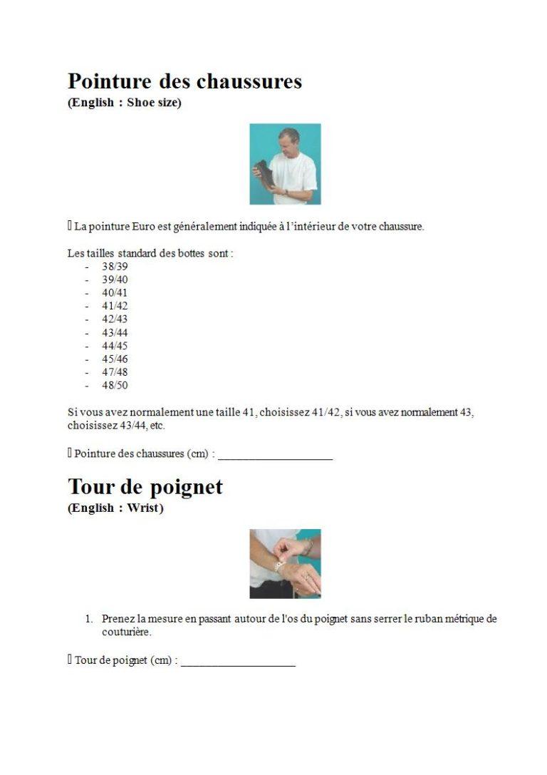 Page 6 - Prendre les mesures pour la combinaison étanche, les gants et la cagoule (en français)