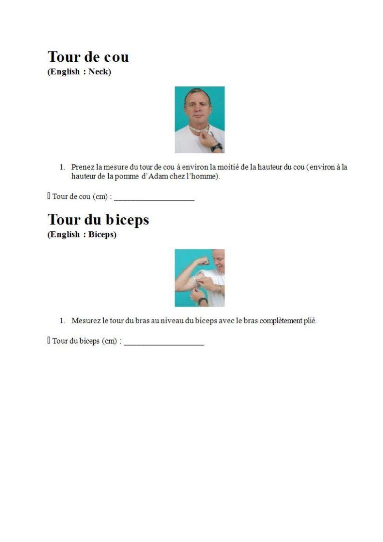 Page 7 - Prendre les mesures pour la combinaison étanche, les gants et la cagoule (en français)