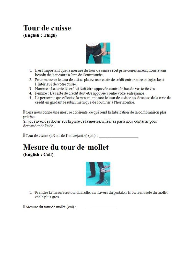 Page 8 - Prendre les mesures pour la combinaison étanche, les gants et la cagoule (en français)