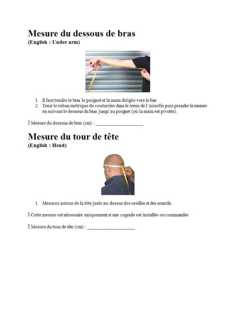 Page 10 - Prendre les mesures pour la combinaison étanche, les gants et la cagoule (en français)