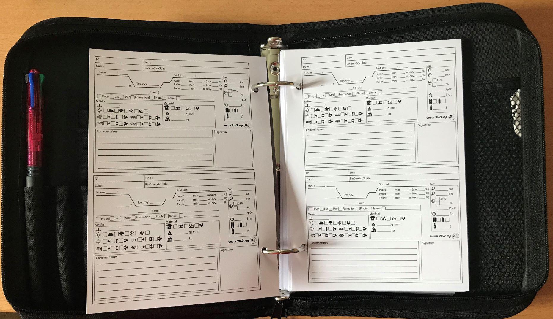 Voici le résultat dans un LogBook après impression