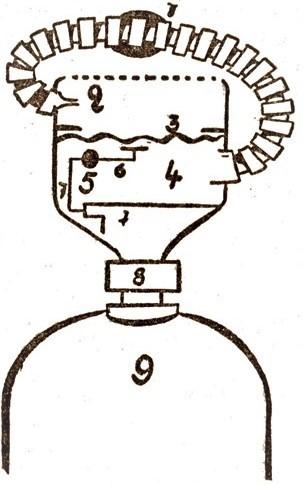 Scaphandre à circuit ouvert (Cousteau-Gagnan) (illustration : Dino Attanasio)