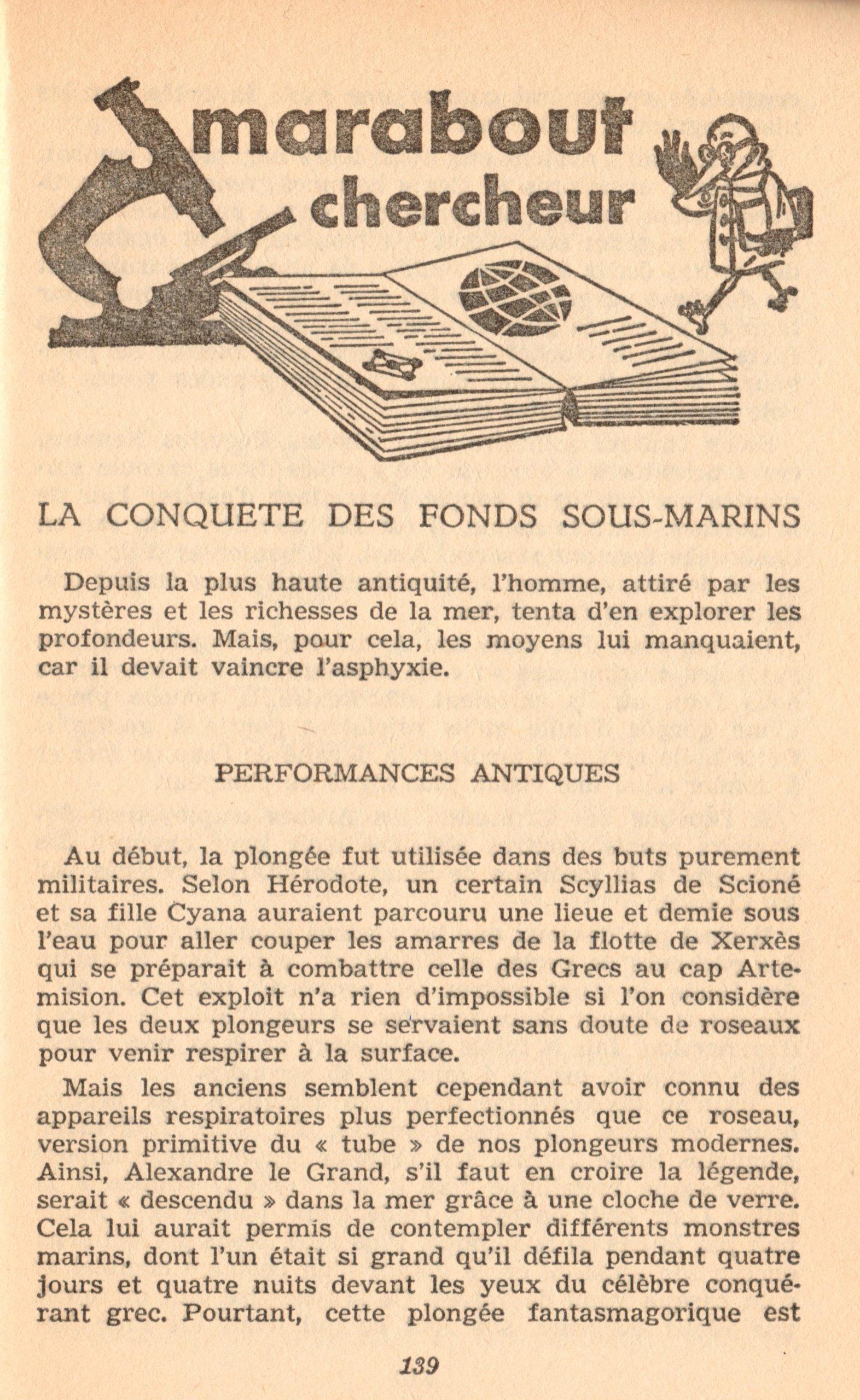 p139, La conquête des fonds sous-marins, marabout chercheur